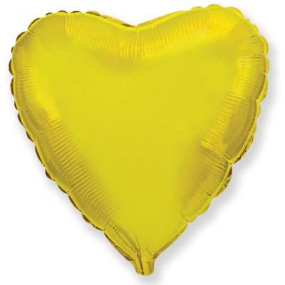 Однотонный фольгированный воздушный шар Сердце золото (81 см)