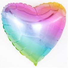 Однотонный фольгированный воздушный шар-сердце Нежная радуга градиент (81 см)