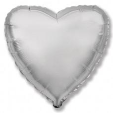 Однотонный фольгированный воздушный шар Сердце серебро (81 см)