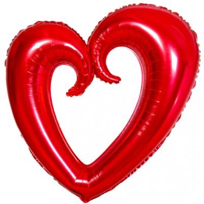 Однотонный фольгированный воздушный шар-фигура Сердце вензель красный (102 см)