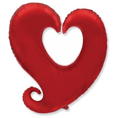 Однотонный фольгированный воздушный шар-фигура Цепь сердец красный (102 см)
