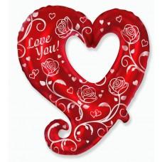 Фольгированный воздушный шар-фигура Сердце с розами красный (81 см)