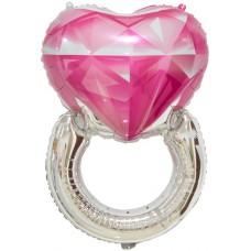 Фольгированный шар-фигура Кольцо с бриллиантом розовый (81 см)
