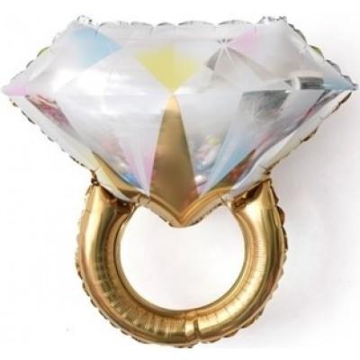 Фольгированный шар-фигура Кольцо с бриллиантом золото (69 см)