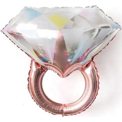 Фольгированный шар-фигура Кольцо с бриллиантом розовое золото (69 см)