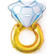 Фольгированный шар-фигура Кольцо с бриллиантом золото (102 см)