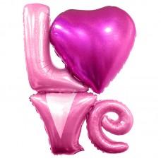 """Фольгированный шар-фигура надпись """"LOVE"""" розовый голография (104 см)"""