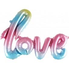 """Фольгированный шар-фигура надпись """"LOVE"""" нежная радуга градиент (104 см)"""