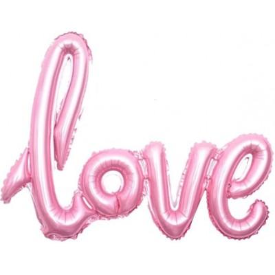 """Фольгированный шар-фигура надпись """"LOVE"""" розовый (104 см)"""