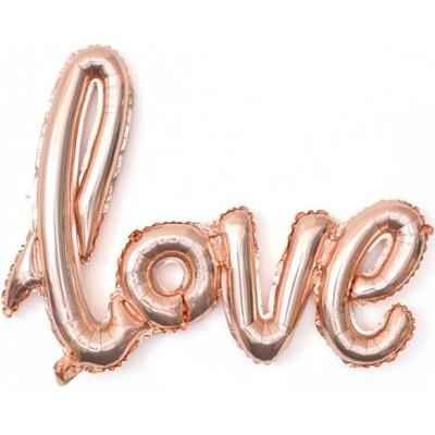 """Фольгированный шар-фигура надпись """"LOVE"""" розовое золото (104 см)"""