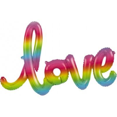 """Фольгированный шар-фигура надпись """"LOVE"""" радужный градиент (122 см)"""