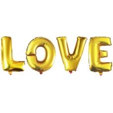 """Фольгированный шар-фигура мини-надпись """"LOVE"""" золото (41 см)"""