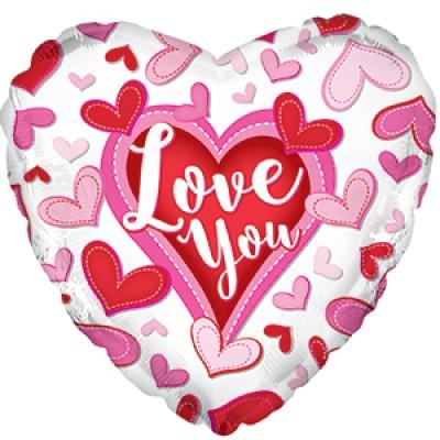 """Фольгированный воздушный шар-сердце """"Я люблю тебя"""" (сердечки) белый (46 см)"""