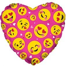 Фольгированный воздушный шар-сердце Влюбленные смайлы розовый (46 см)