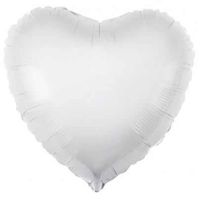 Однотонный фольгированный воздушный шар-сердце белый (48 см)