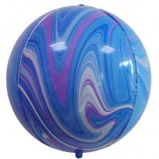 Шар-сфера 3D мрамор голубой-сиреневый агат (61 см)