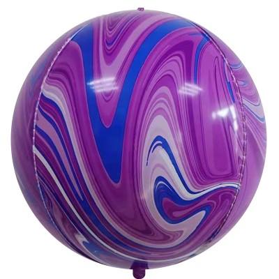 Шар-сфера 3D мрамор фиолетовый-синий агат (61 см)