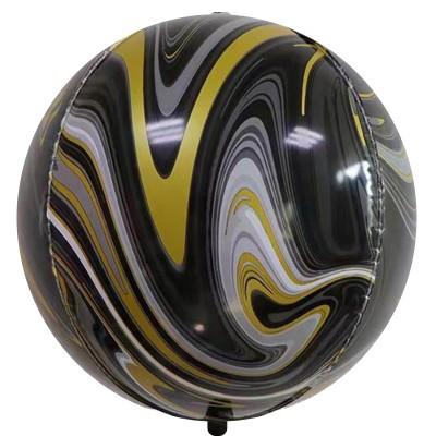 Шар-сфера 3D мрамор черный-золото агат (61 см)