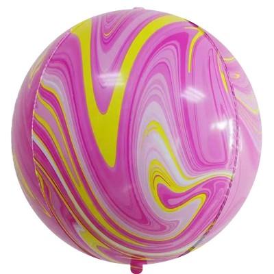 Шар-сфера 3D мрамор розовый-желтый агат (61 см)