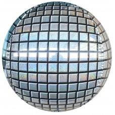 Шар-сфера 3D диско серебро голография (61 см)
