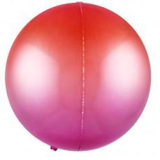 Шар-сфера 3D красный-фуше градиент (61 см)