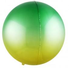 Шар-сфера 3D зеленый-желтый градиент (61 см)