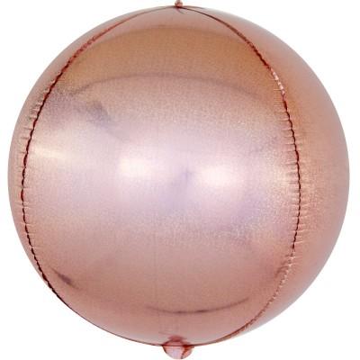 Шар-сфера 3D розовое золото голография (61 см)