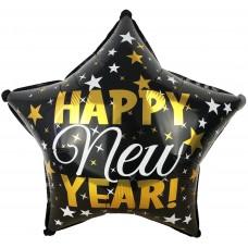 Фольгированный воздушный шар-звезда С Новым Годом (звездопад) черный (46 см)