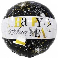 Фольгированный воздушный шар-круг С Новым Годом (брызги шампанского) черный-белый (46 см)