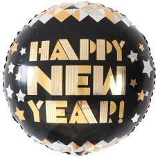 Фольгированный воздушный шар-круг С Новым Годом  (звездное диско) черный (46 см)