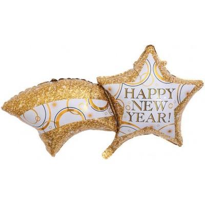 Фольгированный воздушный шар-фигура Счастливого Нового Года (комета) золото  (102 см)