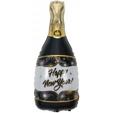 """Фольгированный воздушный шар-фигура Бутылка шампанского """"С Новым Годом"""" черный (102 см)"""