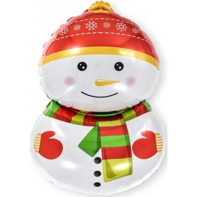 Фольгированный воздушный шар-фигура счастливый снеговик  (81 см)