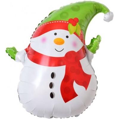 Фольгированный воздушный шар-фигура Снеговик в зеленом колпачке (74 см)