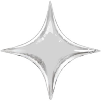 Фольгированный воздушный шар-звезда Конечная серебро (71 см)