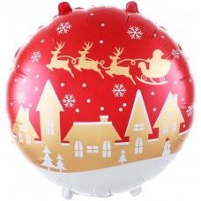 Фольгированный воздушный шар-круг Новогодняя ночь красный (46 см)