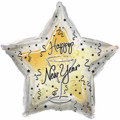 Фольгированный воздушный шар-звезда С Новым годом бокал серебро (46см)
