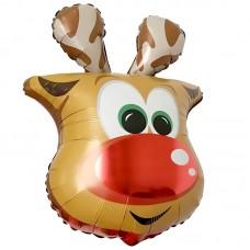 """Фольгированный воздушный шар-фигура голова """"Веселый олень"""" (66 см)"""