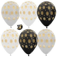 Воздушный шар Снежинки ассорти пастель (30 см)