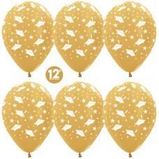 Воздушный шар Выпускной золото яркое металлик (30 см)