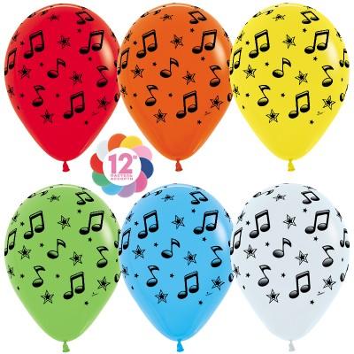 Воздушный шар Музыкальные ноты ассорти пастель (30 см)