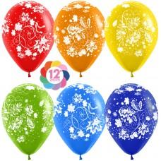 Воздушный шар Ажурные листья ассорти пастель (30 см)