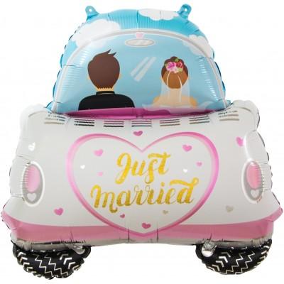 Фольгированный воздушный шар-фигура Молодожены свадебный автомобиль (74 см)