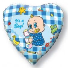Фольгированный шар-сердце Новорожденный мальчик голубой (46 см)