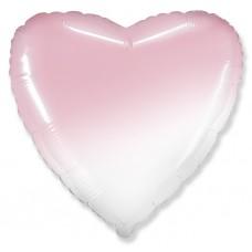 Фольгированный воздушный шар-сердце розовый градиент (46 см)