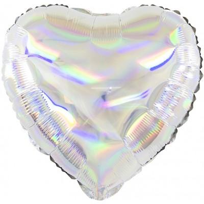 Фольгированный воздушный шар-сердце Перламутровый блеск серебро голография (46 см)