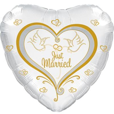 Фольгированный воздушный шар-сердце Свадебные голуби белый (46 см)