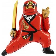 Фольгированный воздушный шар-фигура Ниндзя красный (81 см)