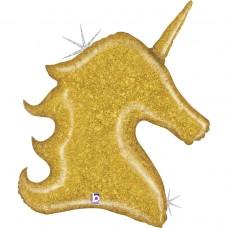 Фольгированный воздушный шар-фигура голова Звездный Единорог золото голография (97 см)