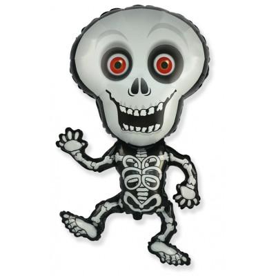 Фольгированный воздушный шар-фигура Танцующий скелет серый (102 см)